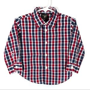 DOCKERS Boys Size 24m 2T Red Check Button Down EUC